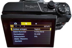 Canon G7X MK II Einstellungen