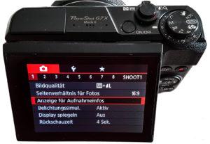 Shoot Menü Canon G7X Mk II