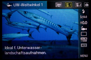 Olympus TG-4 Unterwassereinstellungen