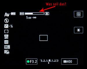 Anzeige auf dem Display der Canon G7X Mk II